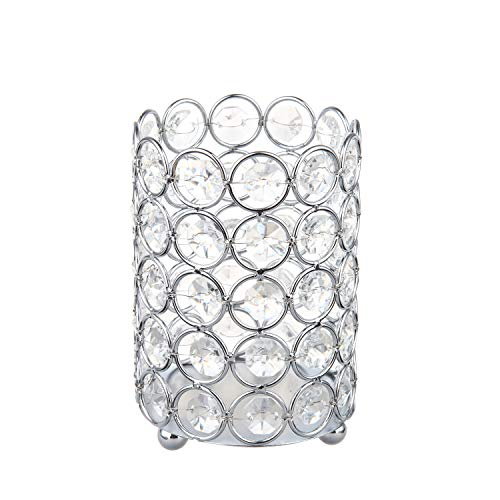 Feyarl Crystal Beads Candle Holder Votive Cylinder Candle Lantern Makeup Brush Holder with 5 Layers Beads for Wedding Home Christmas Deco Gift (Silver) ()