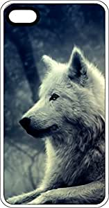 White Wolf at Night White Rubber Case for Apple iPhone 5 or iPhone 5s
