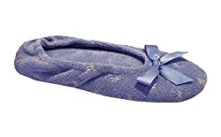 Isotoner Women's Embroidered Terry Ballerina Slippers, Large, Periwinkle Blue