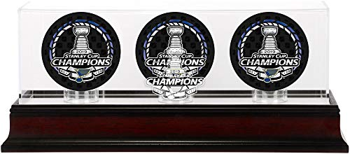Fanatics Authentic NHL St. Louis Blues Stanley Cup Champions Mahogany Three Hockey Puck Logo Display Case, Black, One Size (Steiner Sports Puck Case)