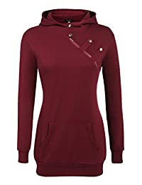 Zeagoo Women's Side Zip Funnel Neck Pullover Tunic Hoodie Sweatshirt