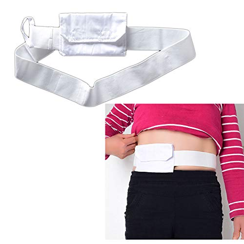 (G Tube Holder Catheter Peg Tube Bag Cover Drainage Belt Abdpminal Dialysis Protector Fixation Device Medical Professional Nursing for Patients (White))