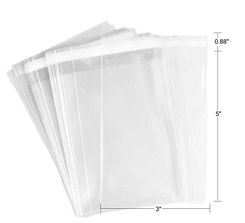 100 Pcs 3x5 2Mil Clear Flat Cello / 3