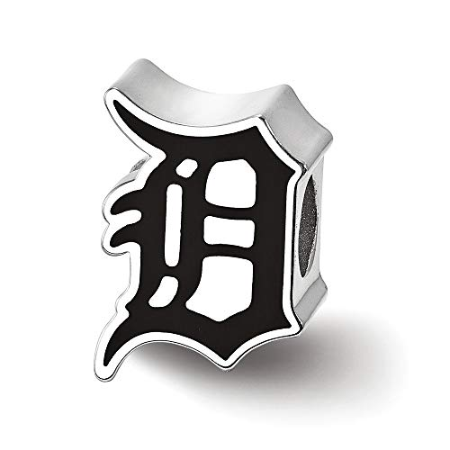 (925 Sterling Silver Detroit Tigers Enameled Bead)