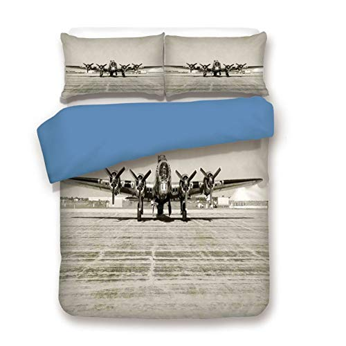 Duvet Cover Set Queen Size, Decorative 3 Piece Bedding Set with 2 Pillow Shams,World War II Era Heavy Bomber Front View Old Photo Flying History Takeoff Aeronautics Decorative