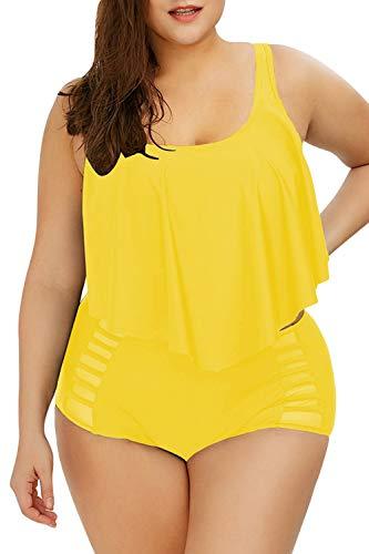 Sovoyontee Women Yellow Ruffle Flounced High Waisted Plus Size Swimsuit Size 16 2XL ()
