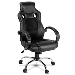 Racing Office Chair Sport Executive Computer Gaming Racer Desk Seat Work Home Deluxe PU Leather Mesh Adjustable Height Thick Pad Black