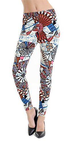 Womens Bright Color Print Cute Skinny Legging Tights for Halloween Party Costume (Cute Halloween Print Outs)