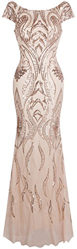 Angel-fashions Women's Bateau Cap Sleeve Floral Sequin Sheath V Back Evening Dress Small -
