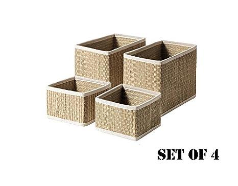 IKEA salnan (Pack de 4) cesta, 2 pequeños y 2 grandes, junco marino de almacenamiento, cesta organizador: Amazon.es: Hogar