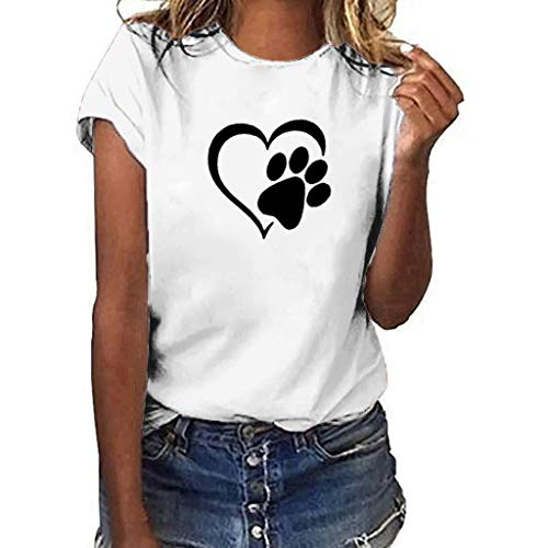 (QueenMM2019 Lovely Animal T Shirts Women Cute Graphic Blessed Shirt Funny Cat and Doggy Large Size Tees Tops)