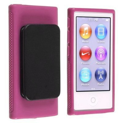 Importer520 Belt Clip TPU Rubber Skin Case Cover for Apple iPod Nano 7th Generation 7G 7 (Pink) (Ipod Nano Cases With Clip)