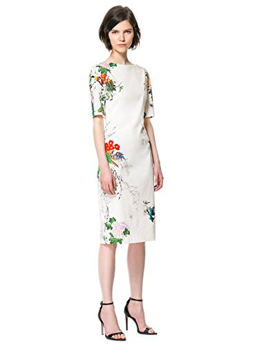 CNlinkco ChiPao Qi Pao Chinese Floral Printed Dress Flower Cheongsam Tang Suit