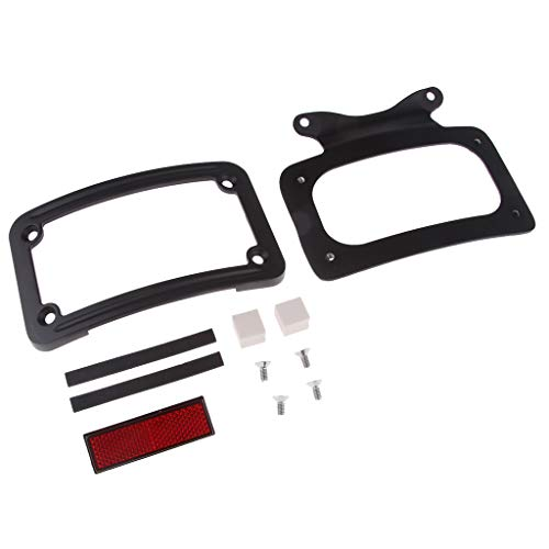 (Baosity Black Laydown Curved License Plate Frame for Harley Road Glide FLHR 2010-Later)