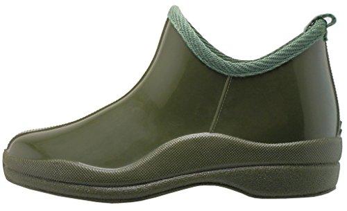 Noisettes Bijou Femmes Cheville Haute En Caoutchouc Naturel Rainboot & Gardenboot Avec Semelle Intérieure Confortable Olive