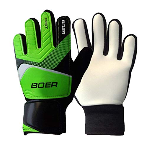 U-first 5-7# Children Kids Youth Outdoor Durable Sport Soccer Goalkeeper Goalie Training Gloves Gear (Green, 5)