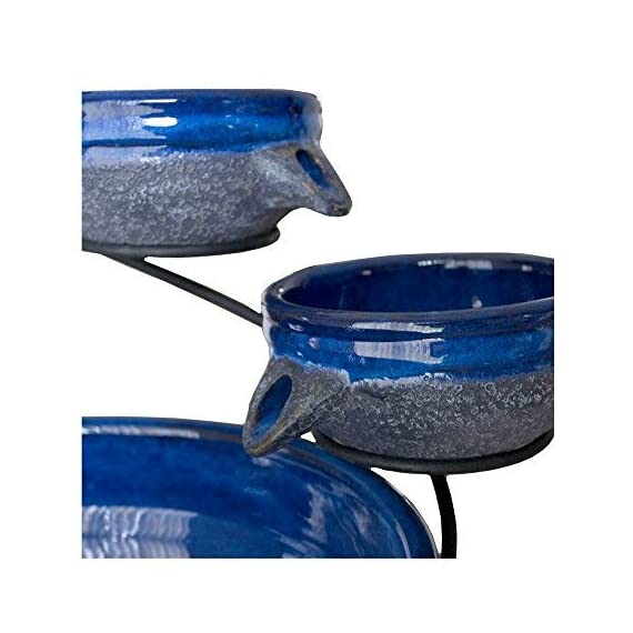 """Smart Solar 23967R01 4-Tier Solar Powered Cascading Fountain, Blueberry And Rustic Blue, Powered By A Separate Included Solar Panel Along With a 10-Foot Cable - Assembled Dimensions: 17.5"""" L X 15.5"""" W X 22.0"""" H  Solar Powered 4 Tier Cascading Fountain Creates A Relaxing Atmosphere On Your Patio, Deck, Balcony Or In Your Garden - patio, outdoor-decor, fountains - 41iPJGjIKML. SS570  -"""