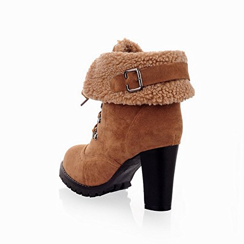 Solid High and Womens PU Closed Toe Yellow Chunky WeiPoot Round with Bandage Heels Boots Heels and Platform IwxgSBxq0