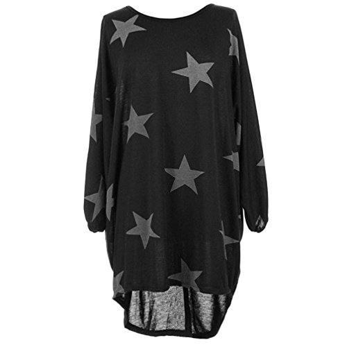 WOCACHI Women Plus Size Batwing Sleeve Stars Print Baggy Top Loose Long Blouse Clearance sale! Big Promotion! Discount! Halloween End of Season Tops for Women Shirts Ladies Womens Blouses Clothes for $<!--$4.99-->