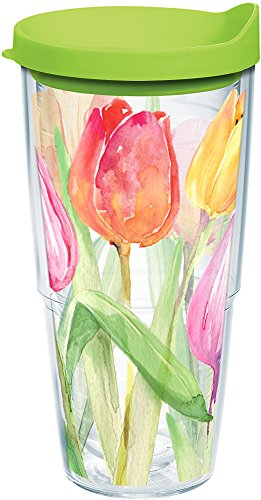 Tervis 1169060 Tea For Tulips Tumbler with Wrap and Lime Green Lid 24oz, Clear
