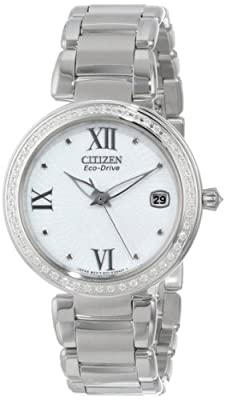 "Citizen Women's EO1100-57A ""Marne Signature"" Stainless Steel Eco-Drive Watch with Diamonds"