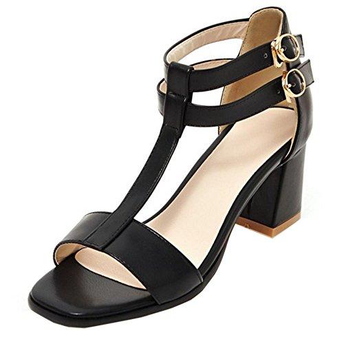COOLCEPT Mujer Moda Correa En T Punta Abierta Chunky Heel Sandalias Negro