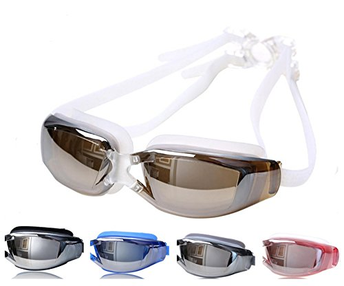 - Tyzon Swim Goggles for Adult Unisex No Leaking Clear-UV Protection, Anti-Fog, Mirror Coated Lens Swimming Goggles with Protection Case (Brown-White)