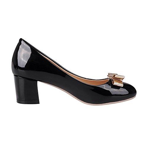 Balamasa Ladies Spun Gold Bowknot Pumps-shoes In Vernice Punta Tonda Nere