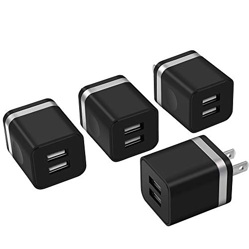 (Power-7 USB Charger Cube, Wall Charger 4-Pack 2.1Amps Dual Port USB Plug Power Adapter Charging Block Brick Compatible with Phone Xs/Xs Max/XR/X/8/7/6 Plus, Samsung, LG, Moto, Nokia, Kindle and More)