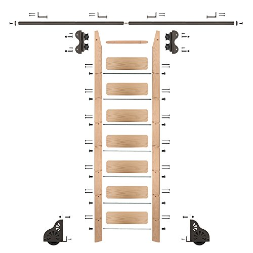 QG Rolling Ladder Kit with 8' Red Oak Ladder and 8' of Railing, Oil Rubbed Bronze by Quiet Glide