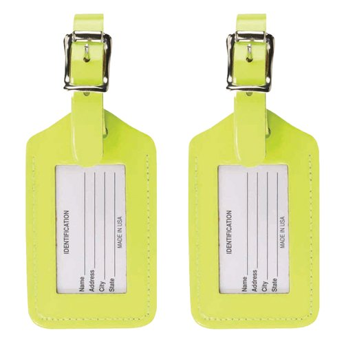 (Lewis N. Clark 2 Leather Luggage Tag: Travel Accessories, Cruise Luggage Tags for Women + Men, Luggage Identifiers + Name Tag, Yellow (2 Pack))