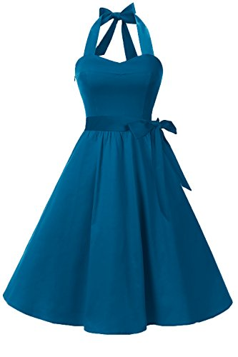 (Topdress Women'sVintage Polka Audrey Dress 1950s Halter Retro Cocktail Dress Steel Blue XL)