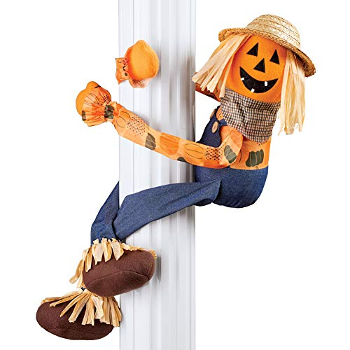 (Collections Etc Pumpkin Scarecrow Hugger with Poseable Wire Arms and a Friendly Jack-o-Lantern Face Halloween)