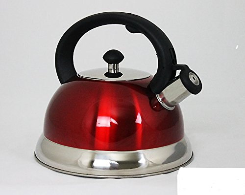 Home N Kitchenware Collection 2.5 Liter Whistling TeaKettle Teapot, Stainless Steel, Capsulated Bottom, Stovetop Tea Kettle, Red