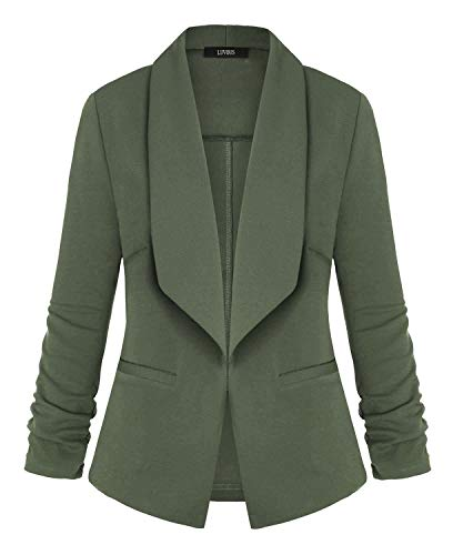LUVOUS Women's Lightweight Blazer Ruched Sleeve Open-Front Cardigan Work Office Jacket Amry Green L