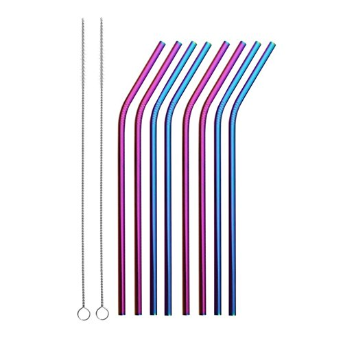 Reusable Stainless Steel Straws Set of 8 Colored Metal Bent Drinking Straws with Cleaning Brush for Cups Mugs Tumblers Ramblers