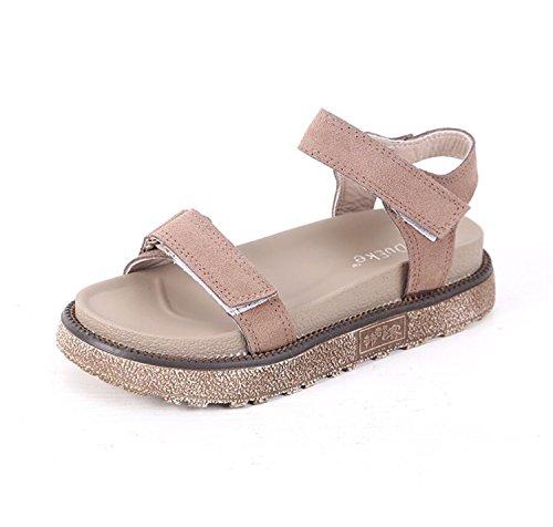 DANDANJIE Zapatos de Mujer Zapatos Planos de Verano Zapatos de Moda con Velcro Zapatillas de Dedo Abierto y Chanclas Sandalias de Gran tamaño (Albaricoque Negro Caqui 34-43) Zapatos caseros Caqui