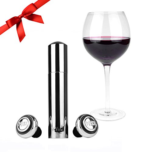 Modern Wine Preserver by St. Vine | Vacuum Wine Pump, Wine Saver with 2 Reusable Bottle Stoppers (Vines Seal)