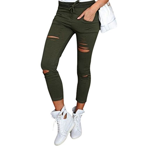 LAEMILIA Frauen Zerrissen Ripped Hose mit hohe Taille Stretch Skinny Bleistifthose Leggings (DE36(Tag M), Grün)