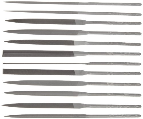 Nicholson 12 Piece Needle File Set with Handles, Swiss Pattern, Double Cut, #2 Coarseness, 6-1/4'' Length by Apex Tool Group