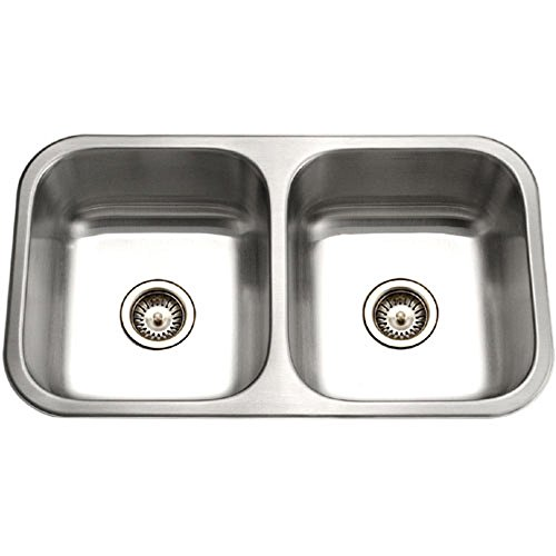 - Houzer ED-3108-1 Elite Series Undermount Stainless Steel 50/50 Double Bowl Kitchen Sink