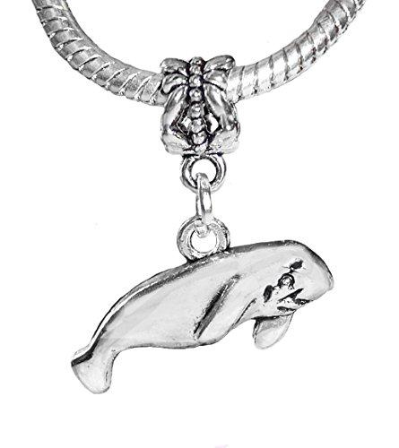 Manatee Beach Sea Cow Ocean Life Florida Dangle Charm for European Bead Bracelet Crafting Key Chain Bracelet Necklace Jewelry Accessories Pendants