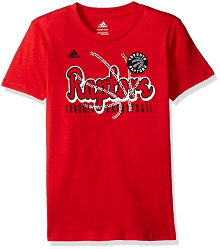 fan products of NBA Girls 7-16 Toronto Raptors Middle Basketball Short Sleeve Tee-Red-M(10-12)
