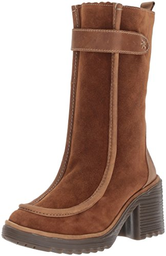 FLY London Women's WOOF783FLY Mid Calf Boot, Camel Oil Suede/Rug, 37 M EU (6.5-7 US)