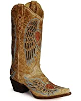 CORRAL Women's Heart Angel Wing Cowgirl Boot Snip Toe Antique Saddle 8 M US