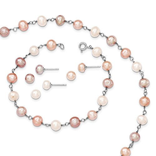 Brilliant Bijou Solid .925 Sterling Silver Rhodium White Pink, Mauve FWC Pearl Neck Bracelet & Ear Se 7 inches (Necklace Pearl Real Pink Bracelet)