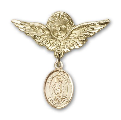 ReligiousObsession's 14K Gold Baby Badge with St. Lazarus Charm and Angel with Wings Badge Pin by Religious Obsession