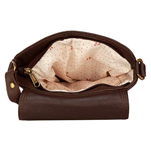 BumBart Collection Men's Brown Leather Sling Bag