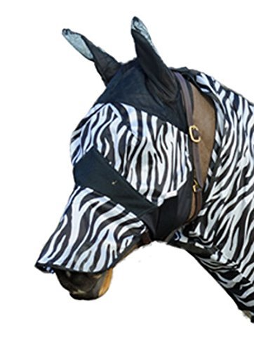 Hkm ANTI FLY MASK WITH EARS AND NOSE COB EQUINE PONY ZEBRA PATTERN FOR HORSE