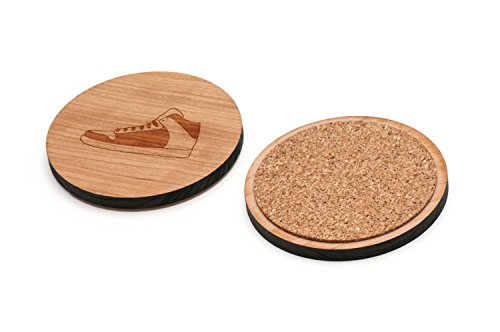 WOODEN ACCESSORIES CO Wooden Coaster Set With Laser Engraved Basketball Sneaker Design - Set of 4 Laser Cut Coasters - Cherry Wood Round Wooden Coasters - Made In The USA